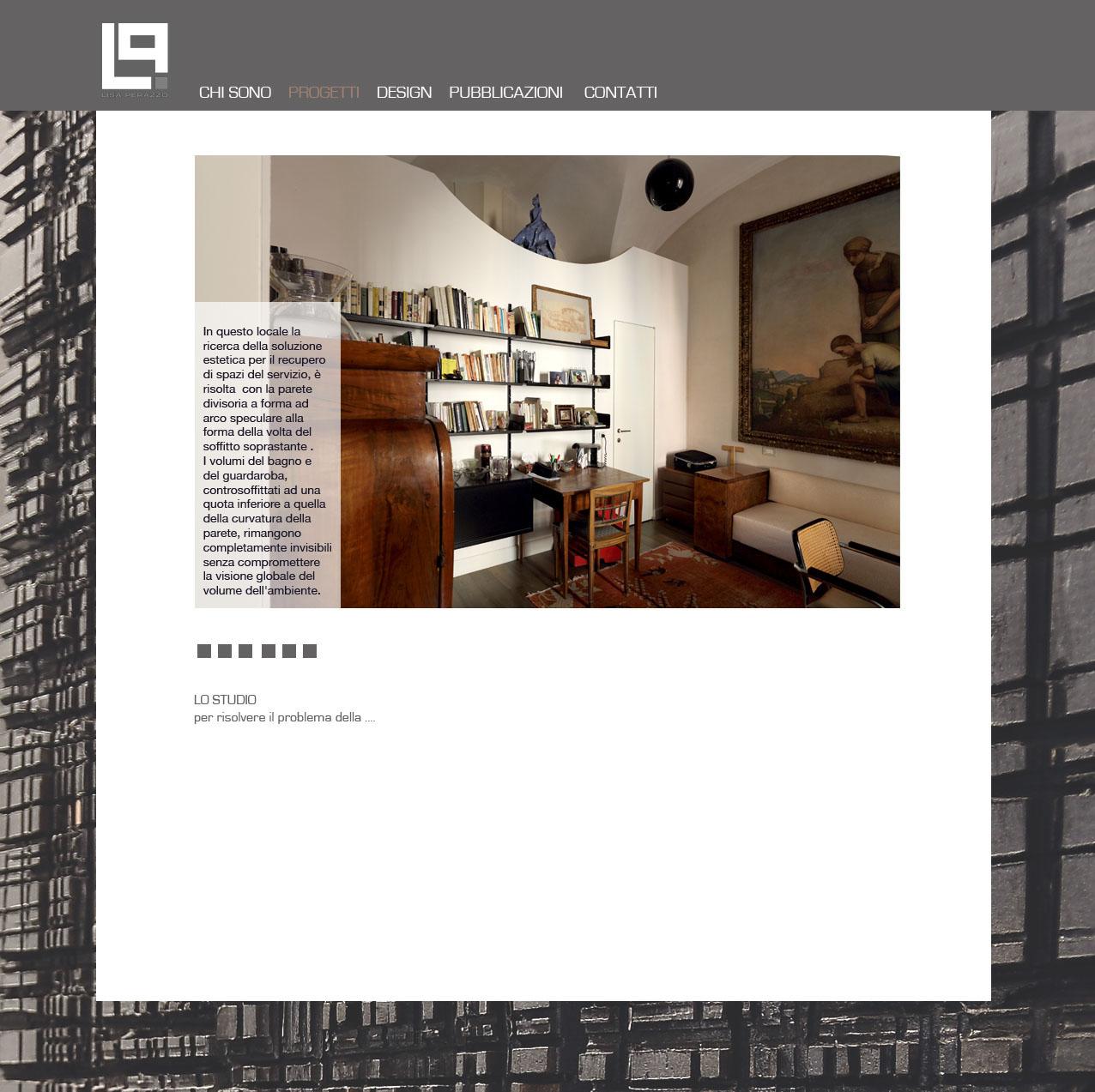 la pagina interna del sito con l'esempio della didascalia in trasparenza