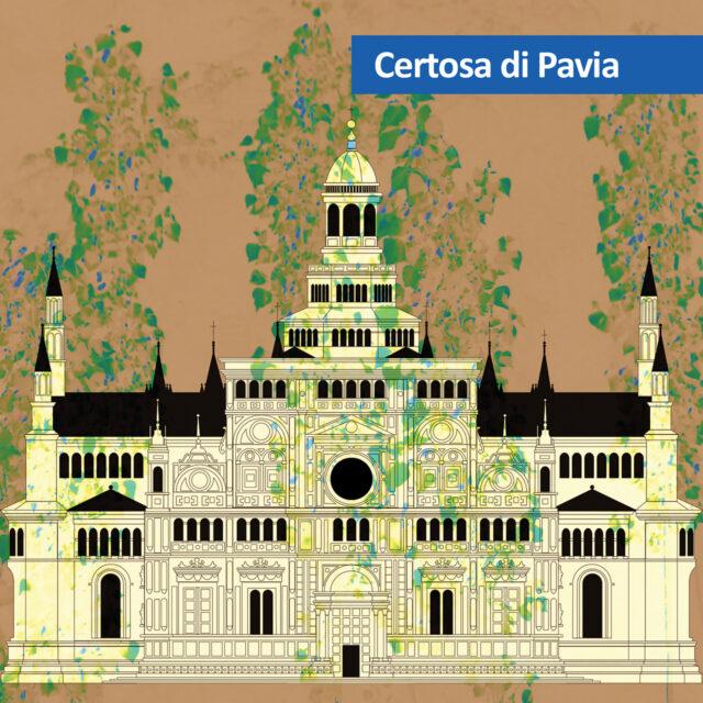 disegno della facciata della Certosa di Pavia