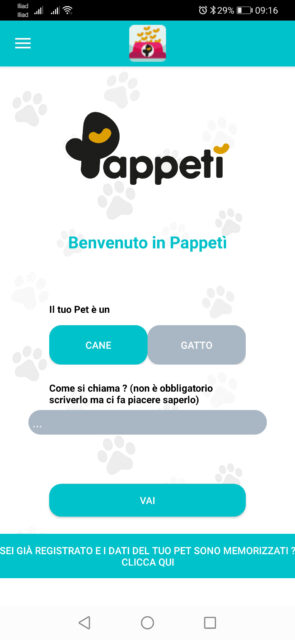videata iniziale dell'app pappetì