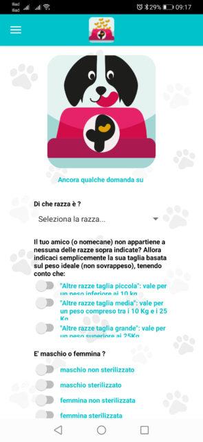videata iniziale della sezione dedicata ai cani dell'app pappetì